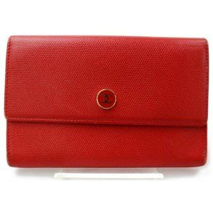 Chanel Red Card Holder Flap Wallet Coin Purse Chan